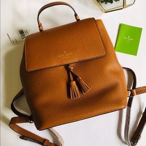 NWT Kate Spade Medium Hayes Backpack Brown & Red
